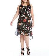 Karen Kane Plus Floral Hi Low Hem Dress
