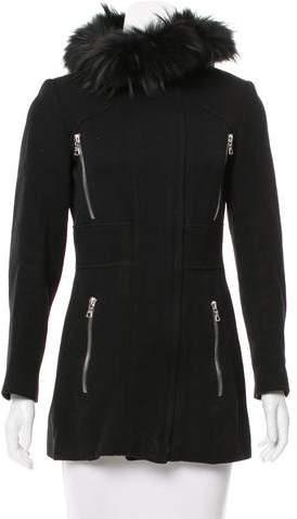 Andrew Marc Fur-Trimmed Wool Jacket