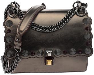 Fendi Metallic Leather Studded Mini Kan I Chain Shoulder Bag