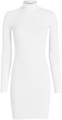 Enza Costa Silk Rib Knit Turtleneck Mini Dress