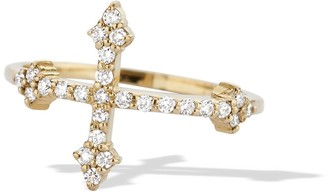 Dru White Diamond Cross Your Fingers Ring - Yellow Gold