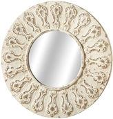 Asstd National Brand Distressed Ivory Round Ornate Wall Mirror