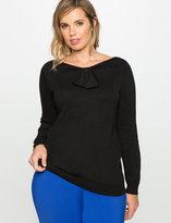 ELOQUII Plus Size Bow Neckline Sweater