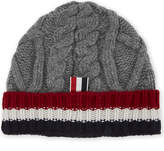 Thom Browne Striped Luxury Cuff Cable-knit Wool Beanie