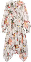 Erdem Kaylah Asymmetric Printed Silk-voile Dress - White