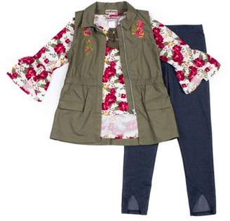Satin Flowers Embroidered Vest, Ruffle Sleeve Top and Legging, 3-Piece Outfit Set (Big Girls)