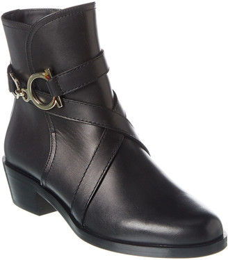 Salvatore Ferragamo Gancini Leather Bootie
