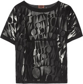 Missoni Faux leather-appliquéd poplin T-shirt