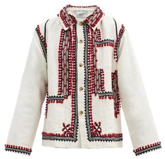 Bode Pompom-embroidered Linen-blend Canvas Jacket - White Multi