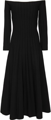 CASASOLA Off-the-shoulder Ribbed-knit Midi Dress