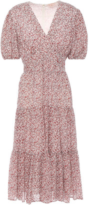 Tory Burch Gathered Floral-print Cotton And Silk-blend Midi Dress