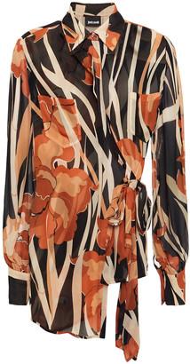 Just Cavalli Asymmetric Wrap-effect Printed Georgette Shirt