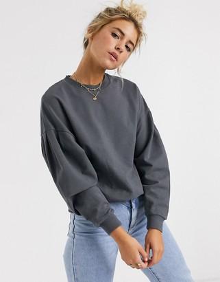 Asos Design DESIGN sweatshirt with seam corset detail in wash-Gray