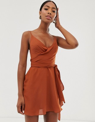 Asos Design DESIGN cami wrap mini dress with tie waist-Orange