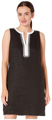 Tommy Bahama Two Palms Sleeveless Shift Dress (Black) Women's Clothing