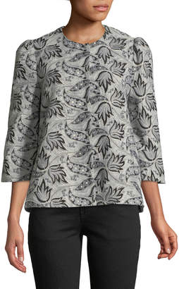 Co 3/4-Sleeve Button-Front Embroidered Jacquard Evening Jacket