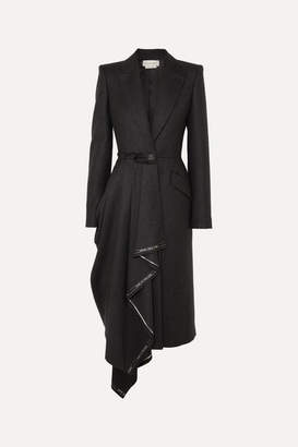 Alexander McQueen Asymmetric Frayed Wool-flannel Coat - Gray