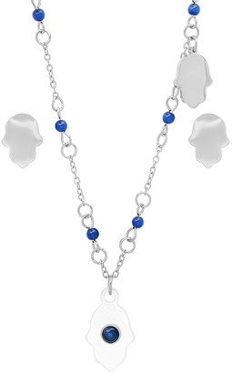 Steel By Design Steel by Design Hamsa Necklace & Earrings Set