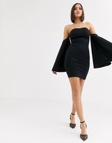 Club L London bandeau midi bodycon dress with fluted sleeve detail in black