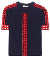 Tory Burch Rosemary Knitted Cotton Top With Crochet-knit Lace