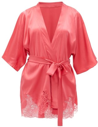 Fleur of England Camellia Silk-blend Charmeuse Robe - Womens - Pink