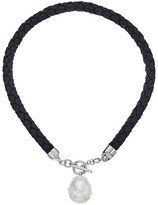 Majorica Braided Leather Tog Necklace Necklace