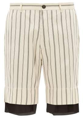 Ann Demeulemeester Striped Double Layer Satin Shorts - Mens - Black White