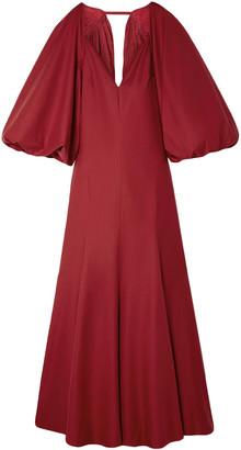 KHAITE Joanna Cape-effect Open-back Cotton-poplin Maxi Dress