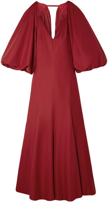 KHAITE Joanna Open-back Gathered Cotton-poplin Maxi Dress