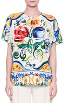 Dolce & Gabbana Maiolica Tile-Print Easy Blouse, White/Blue/Yellow