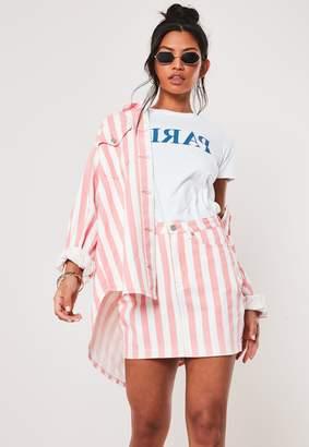 Missguided Pink Co Ord Striped Rigid Denim Mini Skirt