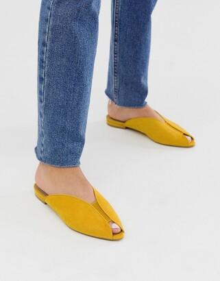 Asos Design DESIGN Lido peep toe ballet flats in mustard-Yellow