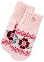 Petit Bateau Girls wool and cotton jacquard mittens