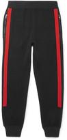 Neil Barrett Slim-fit Tapered Contrast-trimmed Wool Sweatpants - Black