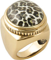 Barse Women's Bronze & Quartz Snow Leopard Ring SAHAR01BSL