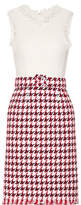 Oscar de la Renta Fringed Houndstooth Cotton-blend Tweed Dress - Red