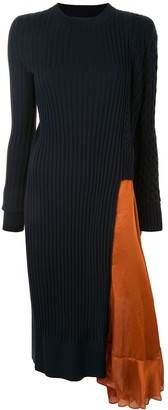 Sacai Satin-Panelled Ribbed Dress