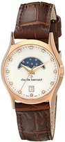 Claude Bernard Women's 39010 37R NAR Classic Ladies Moon Phase Analog Display Swiss Quartz Brown Watch