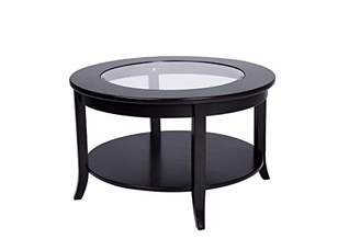 Phoenix Home Coventry Round Wood Coffee Table with Glass Inlay