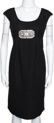 Valentino Black Textured Wool Bejewelled Sheath Dress M