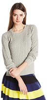 Lacoste Women's Long Sleeve Cotton Cable Knit Crew Neck Sweater