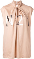 No.21 metallic logo draped blouse - women - Cotton - 40