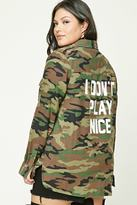 Forever 21 FOREVER 21+ Plus Size Graphic Camo Shirt