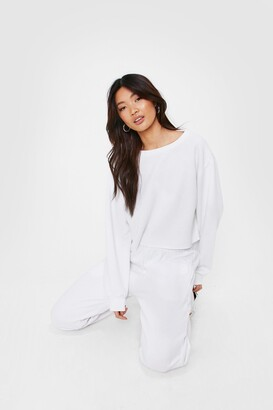 Nasty Gal Womens Cropped Crew Neck Sweatshirt and Joggers Set - White