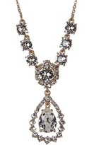 Marchesa Crystal Accented Open Pear Drop Necklace