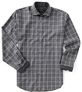 Bugatchi Classic-Fit Houndstooth Plaid Long-Sleeve Woven Shirt