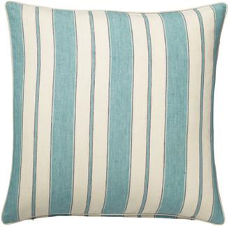 OKA Stringa Stripe Linen Cushion Cover, Large - Antibes Turquoise