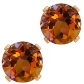 Gem Stone King 1.20 Ct Round Shape Mystic Topaz Rose Gold Plated Silver Stud Earrings