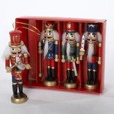 Kurt Adler Wooden Nutcracker Ornament 4-Piece Box Set, 5-Inch