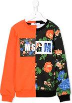 MSGM floral print contrast sweatshirt